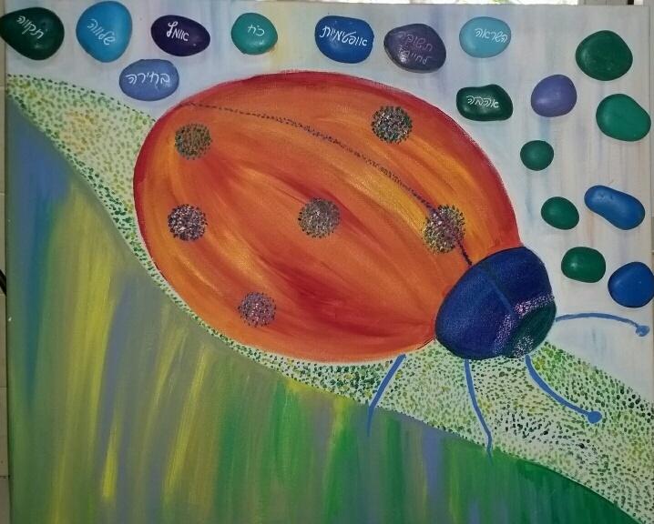 ציור על קנבס עם אבנים