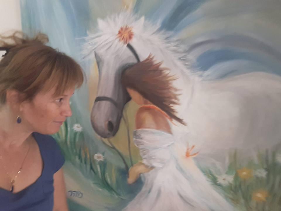 ציור סוס ואישה